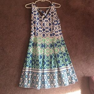 Mint green, blue and white dress